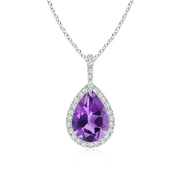 Angara Rose Gold Diamond Halo Amethyst Teardrop Pendant