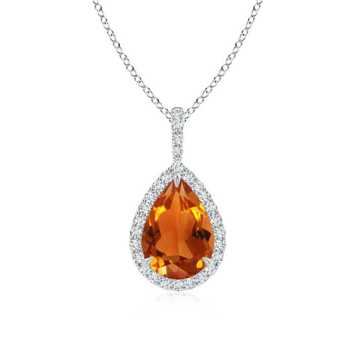 Angara Natural Citrine Teardrop Necklace in 14k White Gold