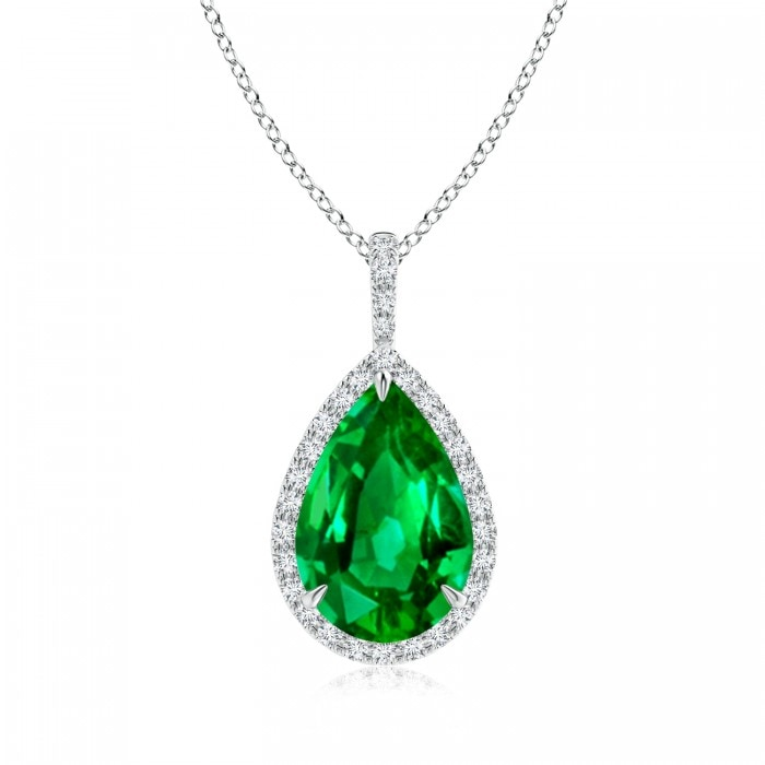 Angara Natural Emerald Diamond Halo Pendant in Yellow Gold vbCXe