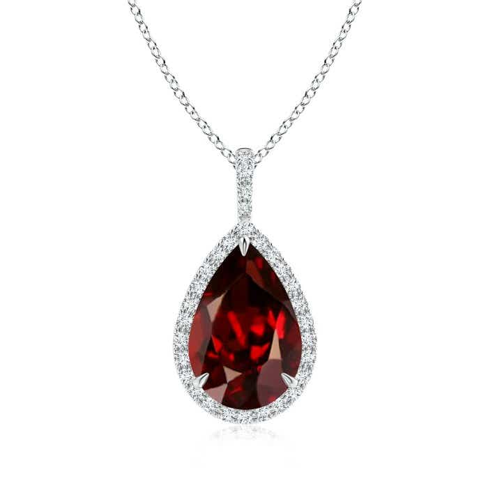 Angara Pear Drop Garnet and Diamond Necklace in Rose Gold