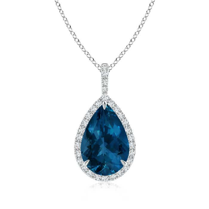 Angara London Blue Topaz Drop Necklace with Diamond Halo in White Gold TXhShq