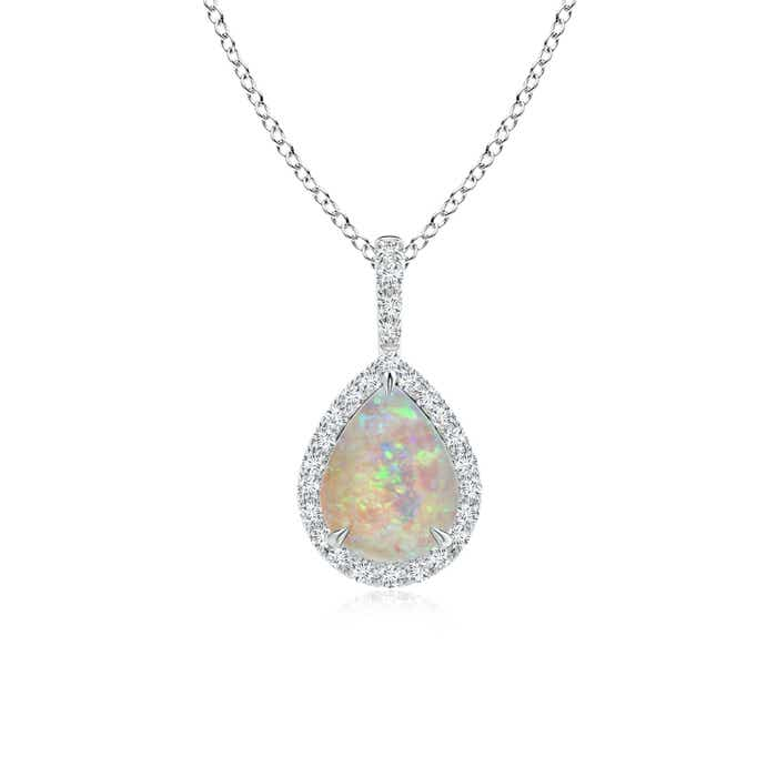 Angara Diamond Halo Opal Drop Necklace in Rose Gold v9gfA