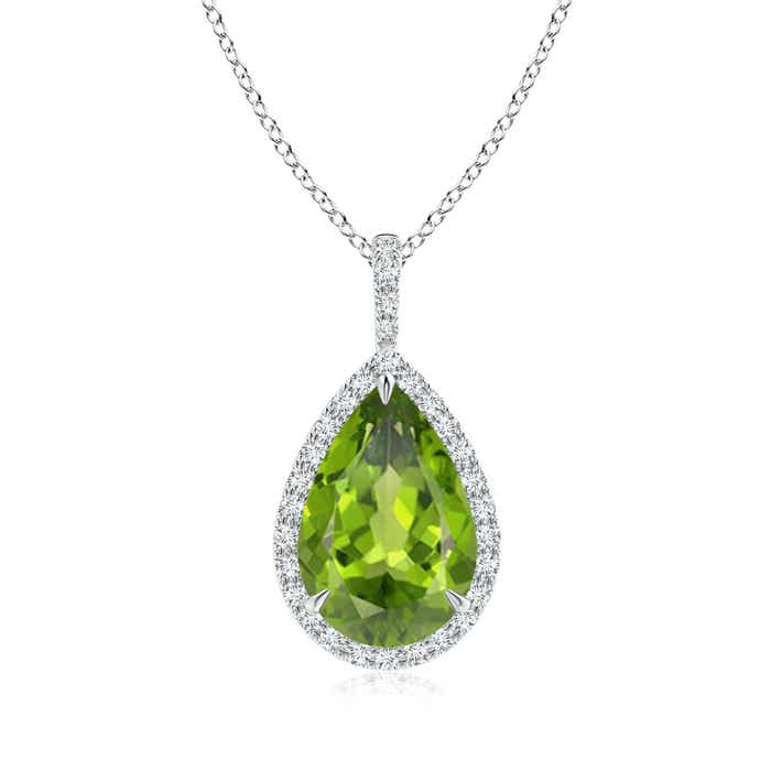 Angara Pear Peridot and Diamond Halo Claw Pendant in Rose Gold 5gBxESu