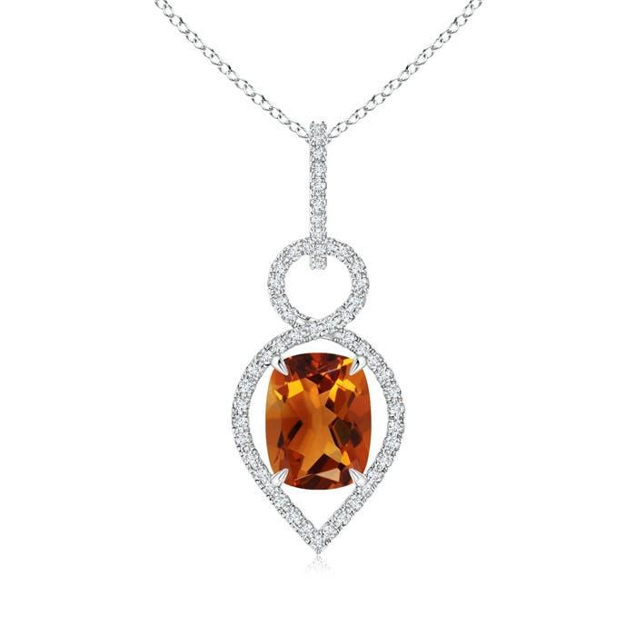 Angara Cushion Citrine Pendant with Diamond Leaf Bale i9IlOMM4va