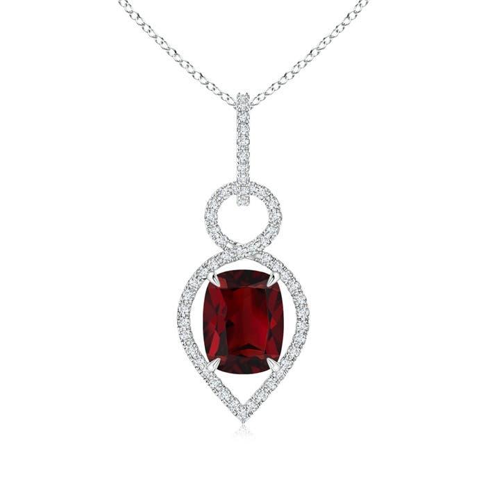 Angara Garnet Infinity Pendant with Diamond X Motif OzzC2VCic0