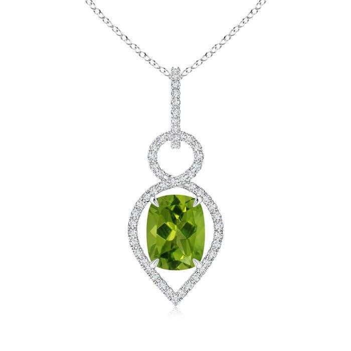 Angara White Gold Diamond Halo Peridot Drop Pendant qgdrtCRzf
