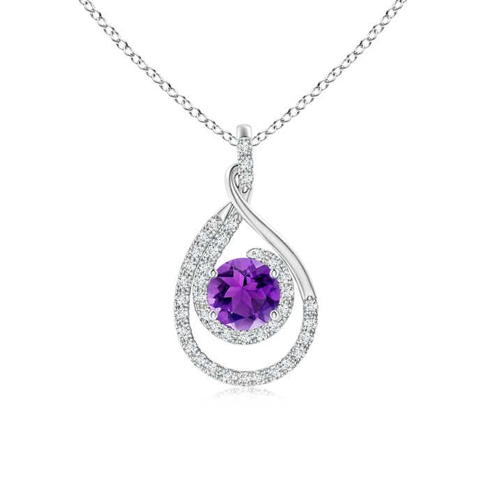 Angara Amethyst Necklace for Women in White Gold srK6kfK2