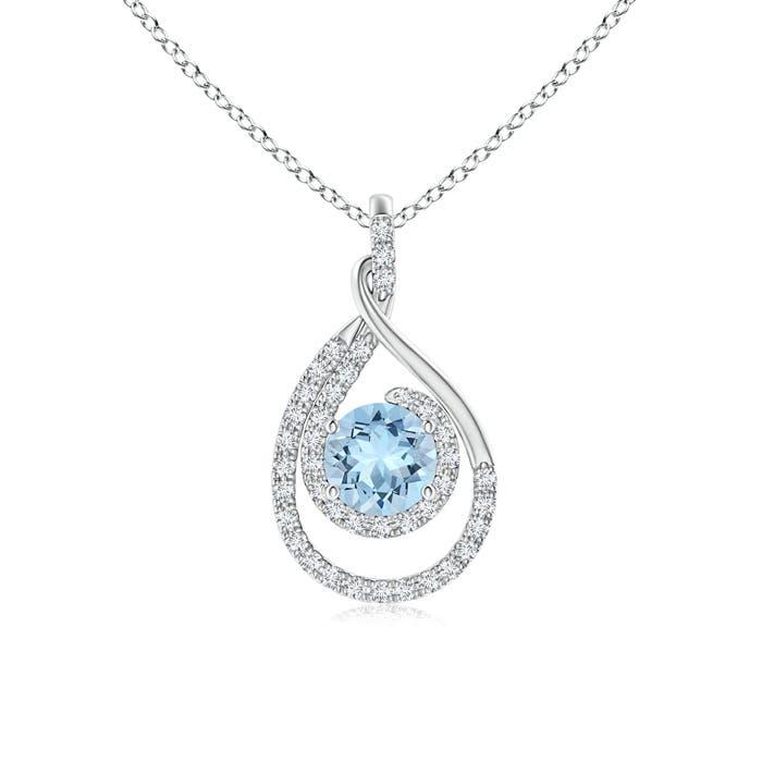 Angara Double Loop Twist Garnet Pendant with Diamonds RSTGhW