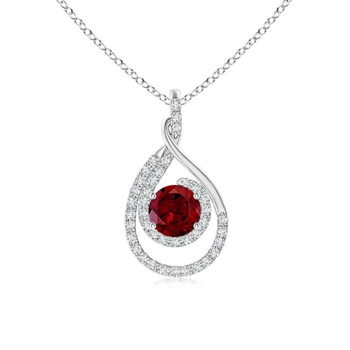Angara Bezel-Set Garnet Pendant with Diamond Halo tCIZ66mCPn