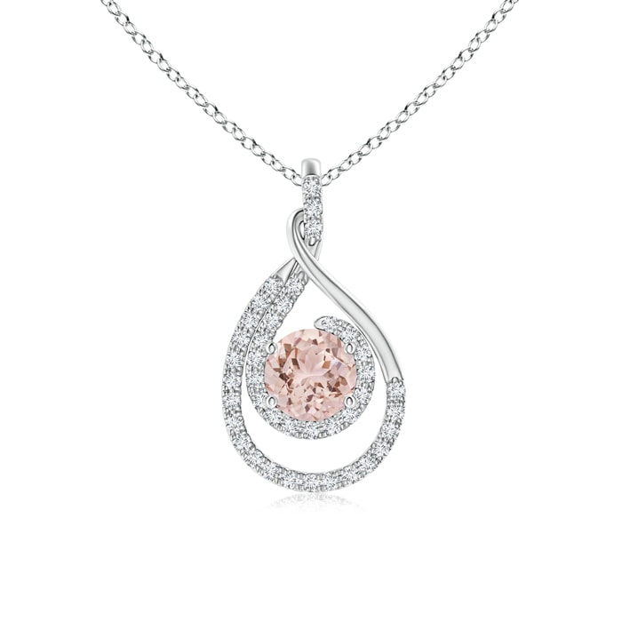Angara Oval Morganite Double Halo Loop Pendant eydhzdK