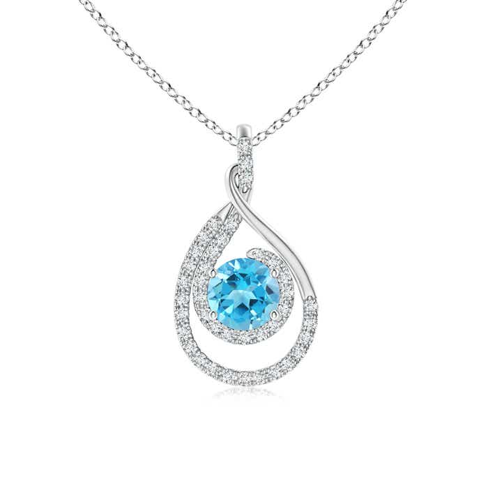 Angara Bezel-Set Swiss Blue Topaz Pendant Necklace in Platinum U4PP4Y8e