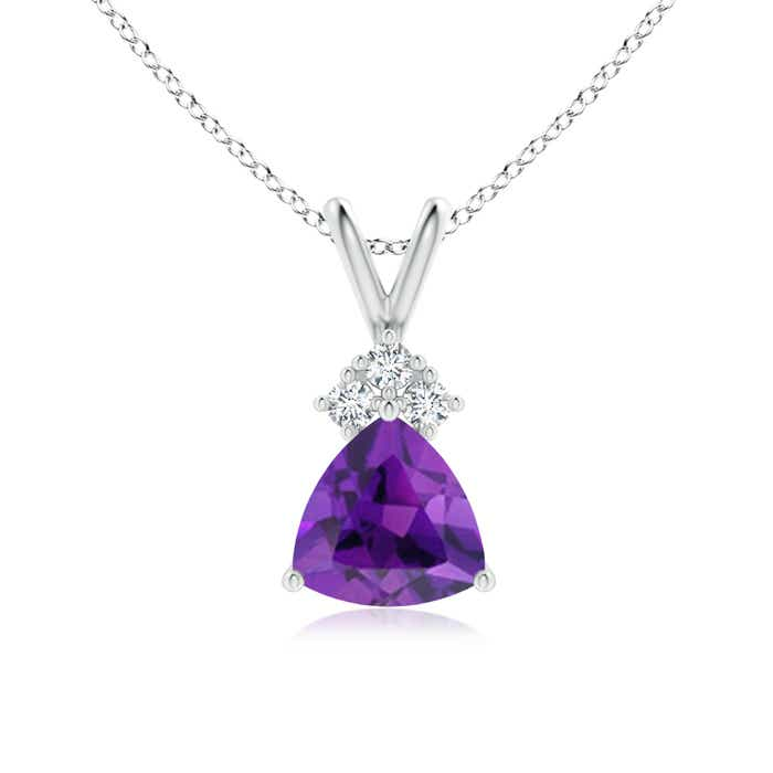 Angara Amethyst Solitaire Pendant in White Gold kMou86Nb