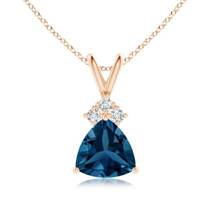 Angara Claw-Set Trillion London Blue Topaz V-Bale Pendant mhu0rV