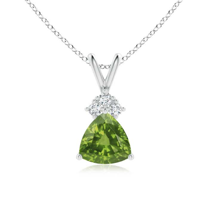 Angara Oval Peridot Wishbone Pendant with Diamond Accents