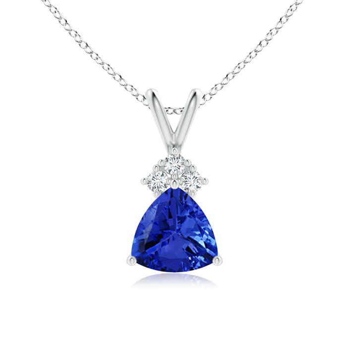 Angara Trillion Tanzanite Solitaire Pendant with Trio Diamonds in White Gold 4M8R0r