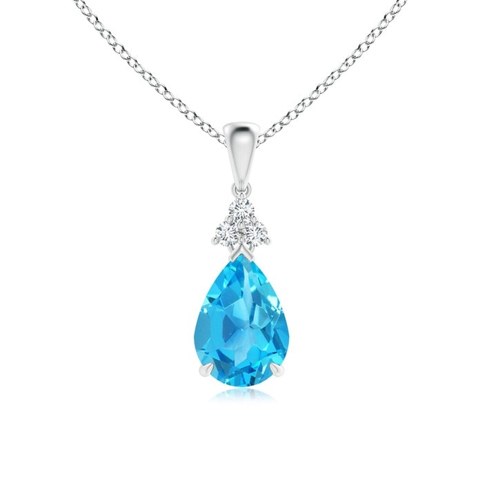 Angara Diamond Halo Swiss Blue Topaz Drop Pendant in Yellow Gold
