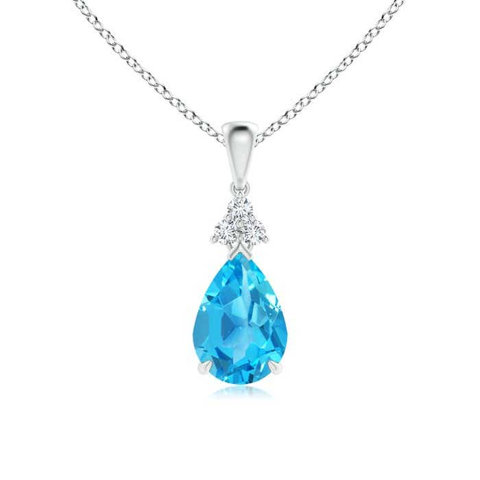 Angara Diamond Halo Swiss Blue Topaz Drop Pendant in Yellow Gold nMS0lk17