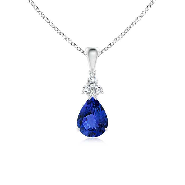 Angara Claw-Set Tanzanite Drop Pendant with Trio Diamonds