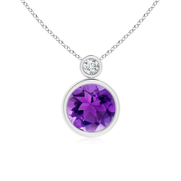 Angara Bezel-Set Amethyst Solitaire Pendant with Diamond weyFB
