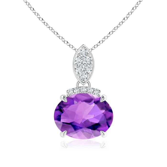 Angara East-West Amethyst Pendant with Diamond Bale 2IeP7