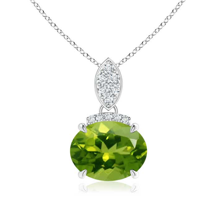 Angara East-West Peridot Pendant with Diamond Bale SuMM9qMH