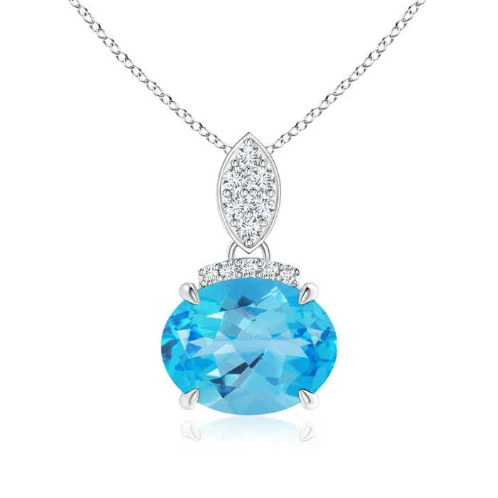 Angara Oval Swiss Blue Topaz Solitaire Pendant with Diamond Bale NoQjo