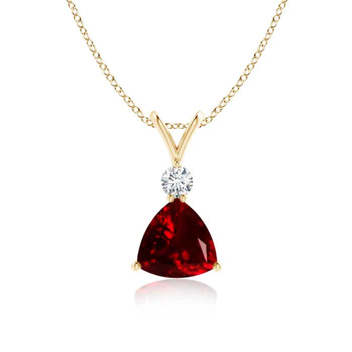 Angara Oval Garnet Solitaire Pendant with Diamond lDq69vN