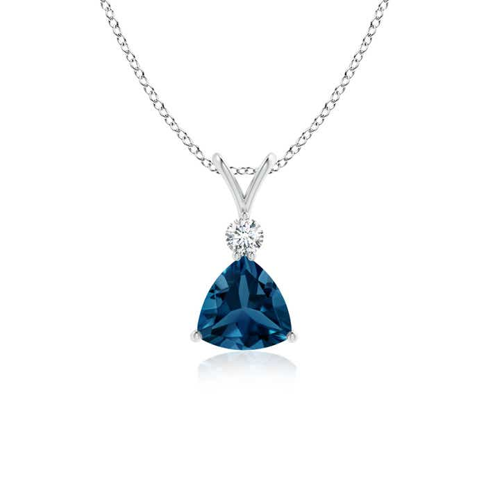 Angara Womens London Blue Topaz Pendant Platinum