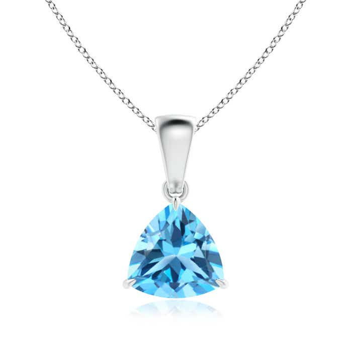 Angara Solitaire Swiss Blue Topaz Pendant for Women in White Gold 8zS3rGILej