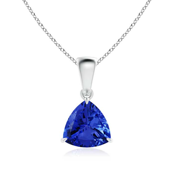 Angara Solitaire Trillion Tanzanite Pendant in White Gold Wd3v1