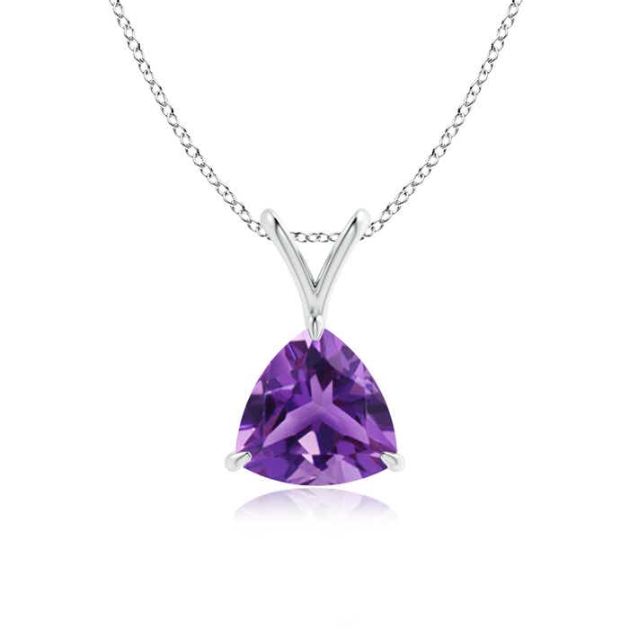 Angara Solitaire Amethyst V-Bale Pendant in Yellow Gold