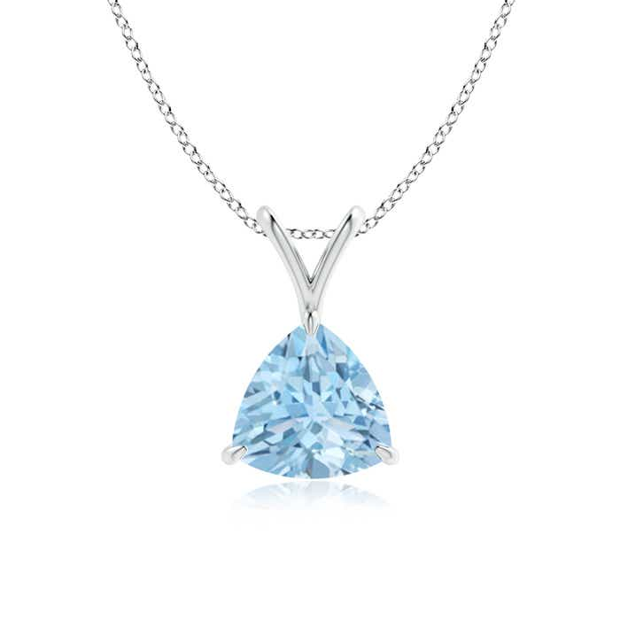Angara Oval Swiss Blue Topaz and Diamond V-Bale Pendant in Yellow Gold QeBcDNGIWS