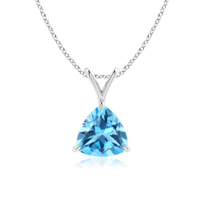 Angara Solitaire Swiss Blue Topaz V-Bale Pendant in White Gold CpTCb