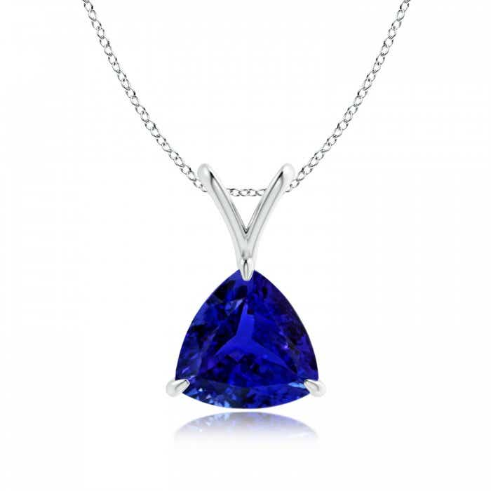 Angara Claw-Set GIA Certified Trillion Tanzanite V-Bale Pendant