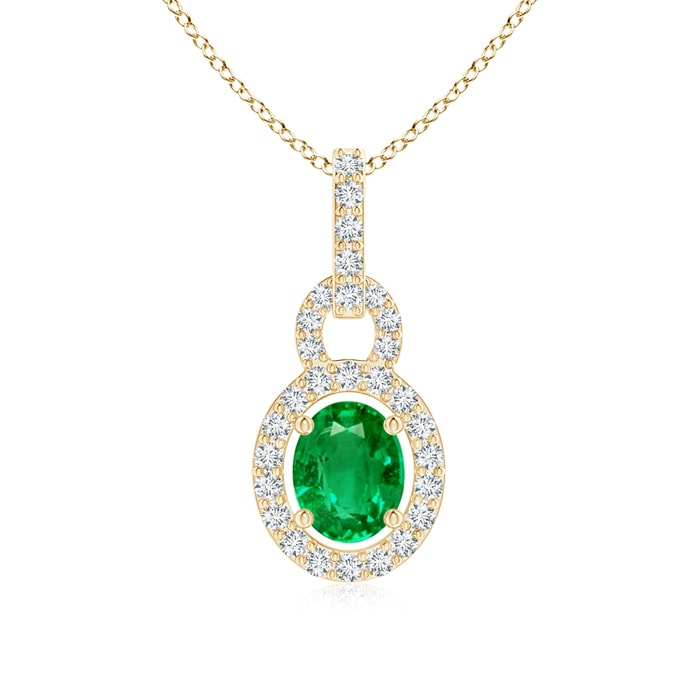 Angara Floating Emerald Pendant with Diamond Halo TTIF3