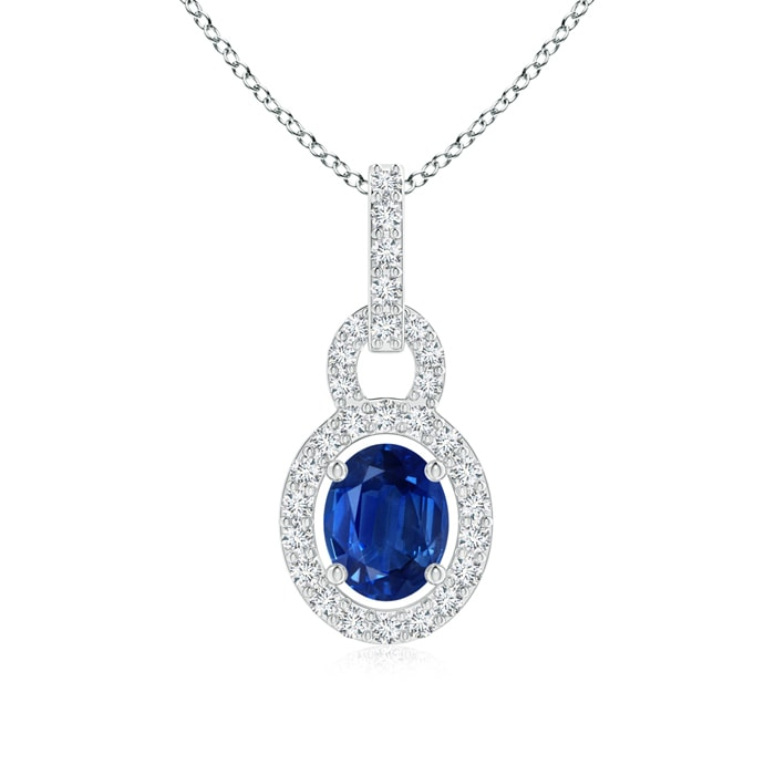 Angara Vintage Sapphire and Diamond Floral Halo Pendant in Platinum rMqPsd