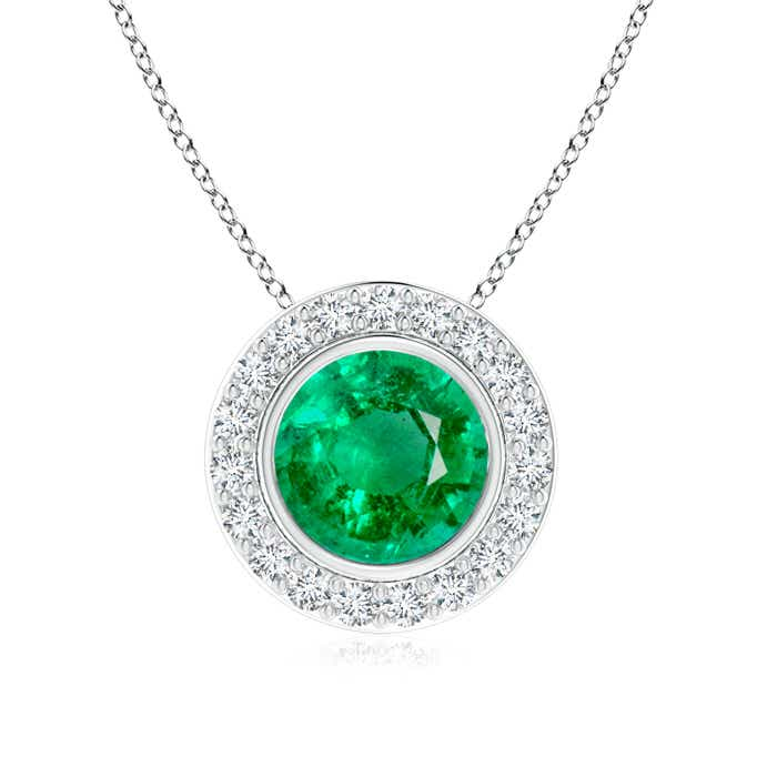 Angara Round Emerald Necklace With Diamond Halo in White Gold