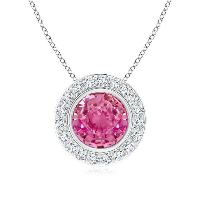 Angara Round Bezel-Set Pink Sapphire Pendant with Diamond Halo oe7LkcR