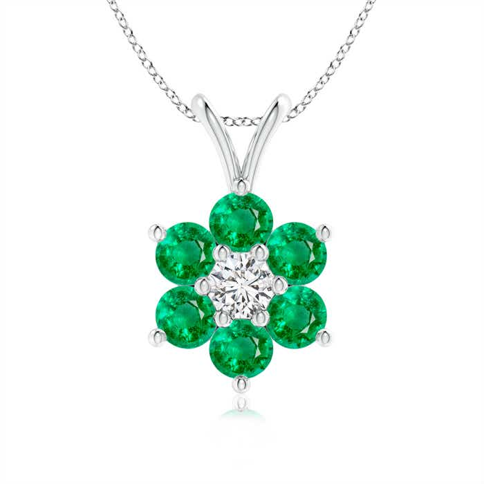 Angara Diamond and Emerald Necklace in White Gold aLYurCUqa
