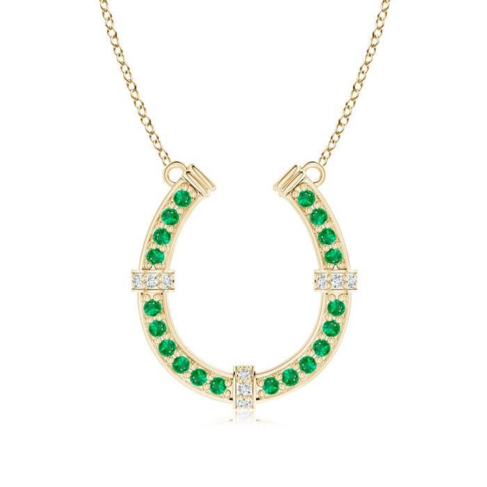 Angara Pave-Set Emerald and Diamond Horseshoe Pendant Necklace WMQCm8rLj