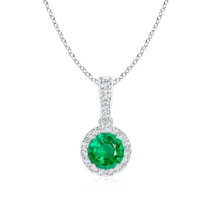 Angara Emerald Dangling Necklace in White Gold 6Ev6abg