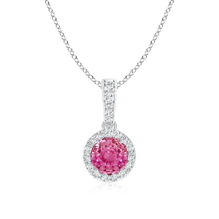 Angara Round Bezel-Set Pink Sapphire Pendant with Diamond Halo