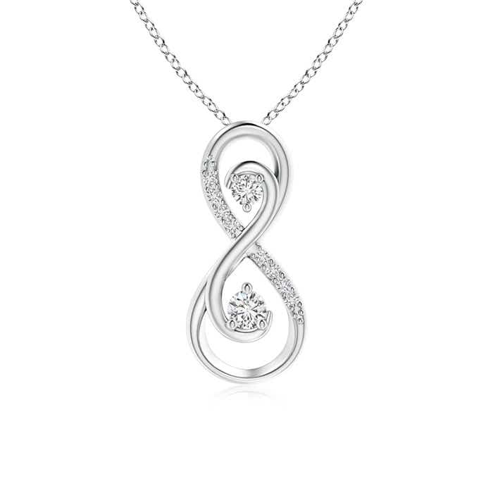 Two stone diamond infinity pendant angara previous mozeypictures Choice Image