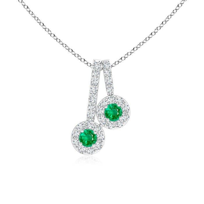 Angara Round Emerald and Diamond Two Stone Pendant BKUwd80ai5