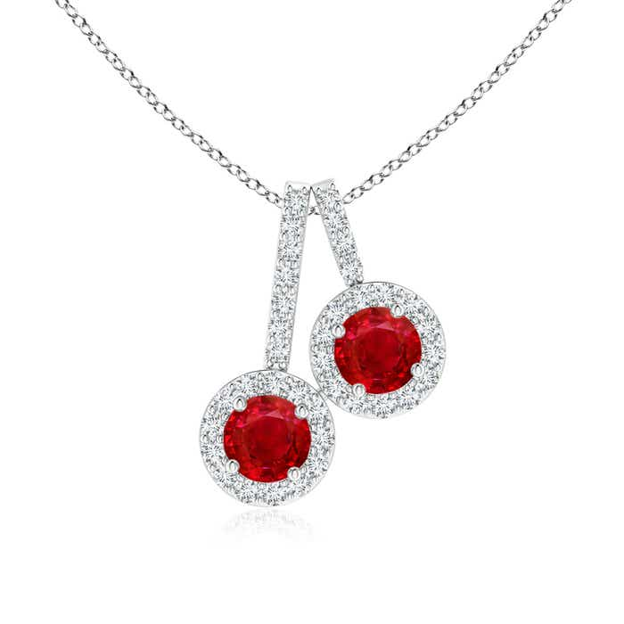 Angara Claw-Set Round Ruby Pendant with Diamond Halo LqDf1GF