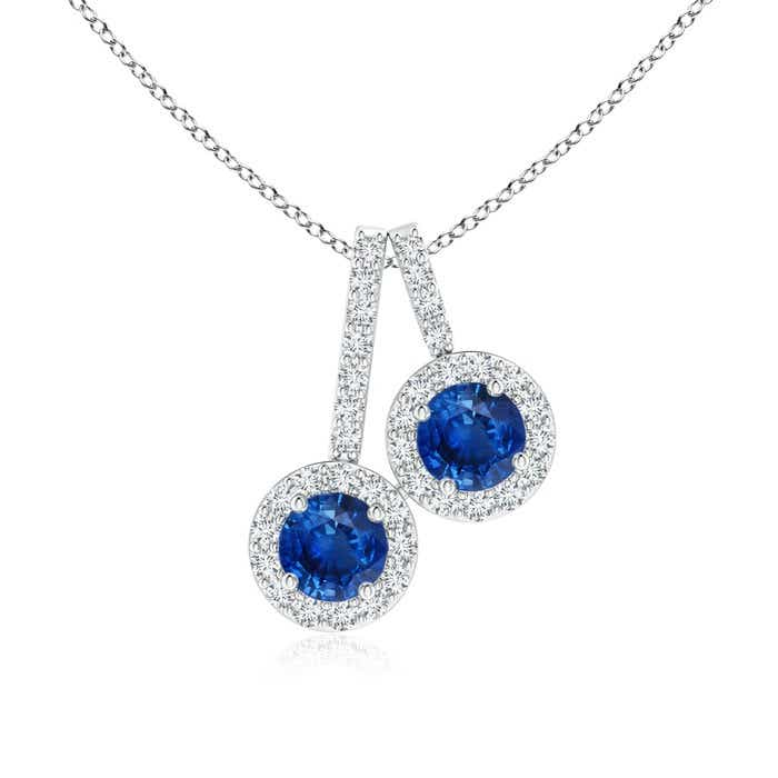 Angara Prong-Set Two Stone Blue Sapphire Halo Pendant D4JqzgaQH