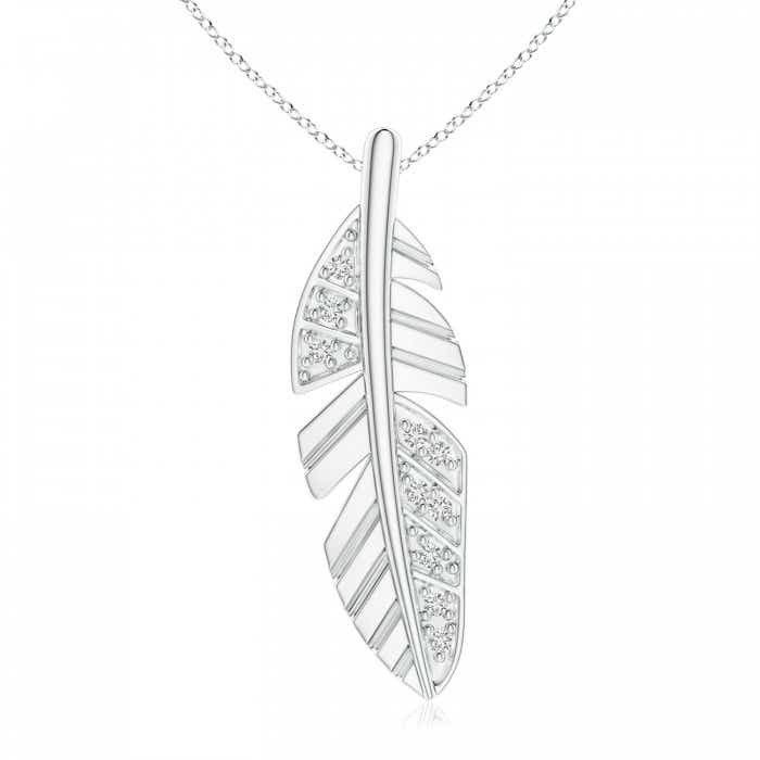 Angara Diamond Encrusted Leaf Pendant