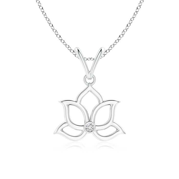 Angara Bezel-Set Diamond Lotus Flower Pendant tuGFnm7D