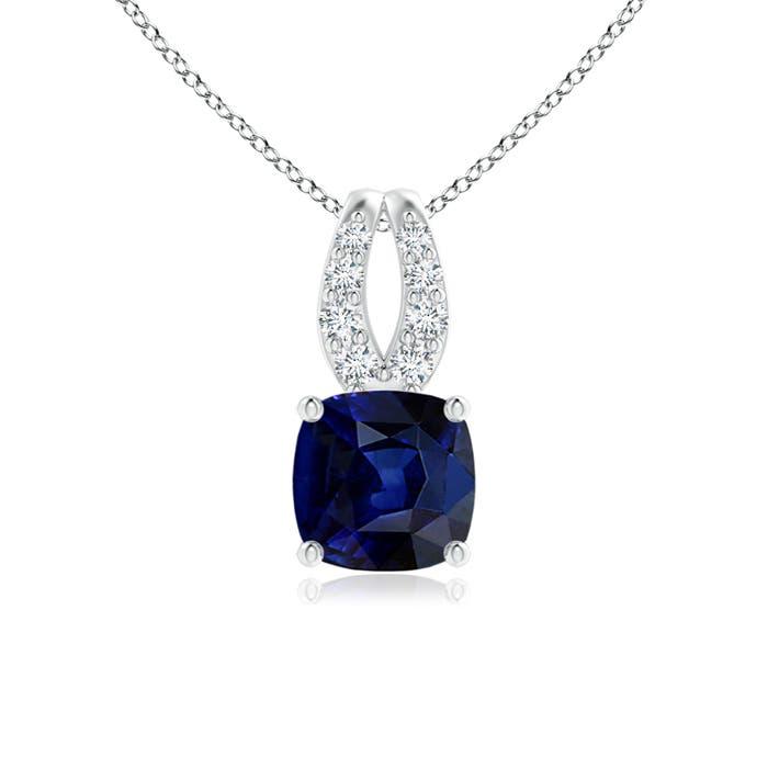 Angara Cushion Sapphire Pendant with Diamond Halo 4sn3vG5ed
