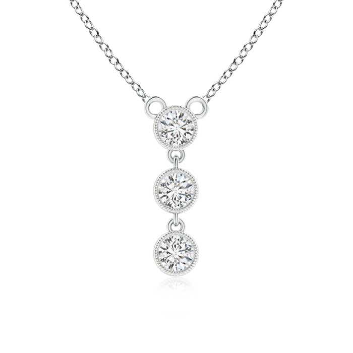 Angara Round Diamond Three Stone Pendant qdc1k